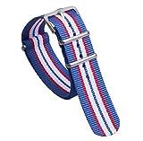 18mm de style toile en nylon bleu / rouge / blanc classique hommes doux NATO bandes de bracelets de montres de remplacement