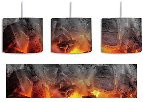 Holzkohle Brennende (brennende Holzkohle in Kamin schwarz/weiß inkl. Lampenfassung E27, Lampe mit Motivdruck, tolle Deckenlampe, Hängelampe, Pendelleuchte - Durchmesser 30cm - Dekoration mit Licht ideal für Wohnzimmer, Kinderzimmer, Schlafzimmer)