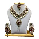 Shining Diva Traditional Jewellery Kundan Pearl Party Wear Necklace Set for Women(Golden)(rrsd6737s)