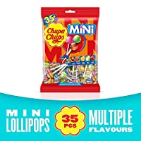 CHUPA CHUPS Mini Lollipops Bag - Mini Version Of Classic Chupa Chups Candy - The Perfect Miniature Treat - Bag Of 35 Pieces
