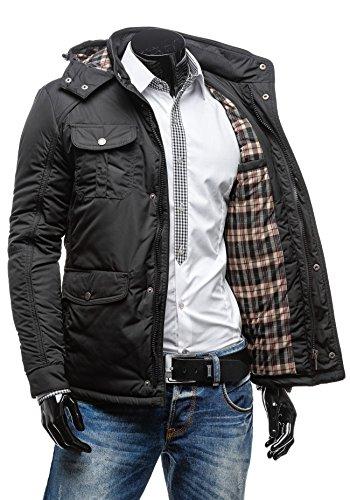 BOLF – Veste à capuche - Fermeture éclair – Boutons - EXTREME 1350- Homme Noir