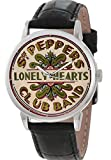 Vintage Sepia Sergeant Pepper Logo Art Beatles Sammlerstück 40mm Messing Armbanduhr