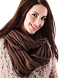 Womens/Ladies Snoods, Fashion Colours With Metalized Fibres, Chocolate