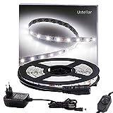 Ustellar Dimmbar 5m LED Streifen Set 300 LEDs Lichtband mit Netzteil , 2835 SMD Strip Kit Licht Band Leiste Lichtleiste, 6000K Kaltweiß, 12V Innenbeleuchtung für Deko Party Küche Weihnachten