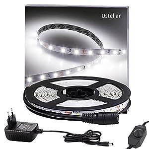 Ustellar Dimmerabile Striscia Flessibile a LED 5M Kit, 300 SMD, Alimentatore incluso Flessibile Luce Bianco Diurna Decorazione interna, Non-impermeabile