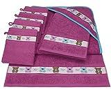 Betz 7 tlg Handtuch Set Kinder Baby 1 Kapuzen Kinderbadetuch 2 Kinderhandtücher 4 Waschhandschuhe Baby Kapuzenhandtuch Kapuzenbadetuch Kapuzentuch 100% Baumwolle TEDDY Farbe pink violett