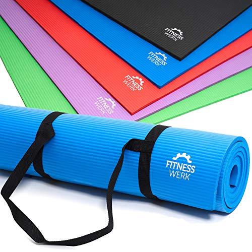 Fitnesswerk Gymnastik- u. Yogamatte | Rutschfeste Fitnessmatte mit Trageband, Workoutposter, Workoutvideo | In 5 Farben | 180x60x1 cm | Dichter NBR-Komfortschaum | 1,3 kg | Markenqualität - Fokus Weichen Bürste
