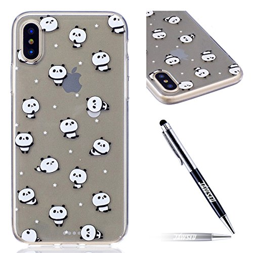 Custodia iPhone X Cover, JAWSEU iPhone X Cassa Caso Custodia Trasparente Flessibile Antiurto Colorato Cristallo Ultra Sottile Morbido TPU Gel Silicone Case Cover per iPhone X Gomma Clear Custodia Prot Panda