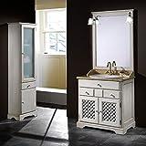 Badmöbel Ronda 80 cm rustikal aus Kiefernholz inkl. Waschbecken, Spiegel und Beleuchtung - Blau