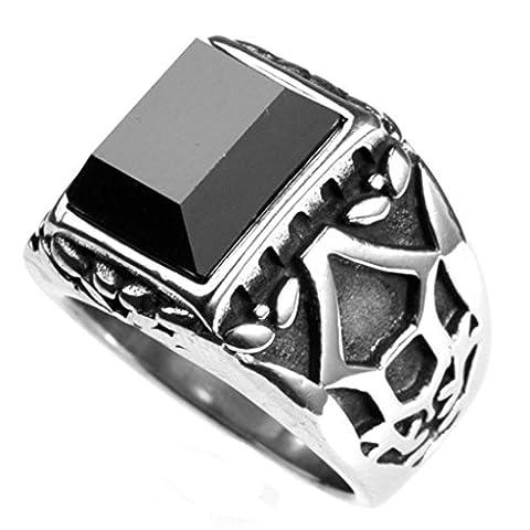 BeyDoDo Modeschmuck Ring Herren Edelstahl Rechteck Opal Stein Zirkonia Herrenring Ringe Silber Größe 65 (Opal Modeschmuck)