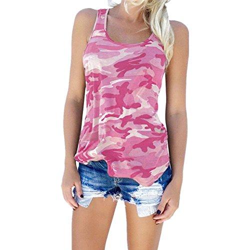 Magliette Camouflage Donna - Camicette Senza Maniche Maglie Collo Rotondo Tops Taglia Grande Casuale Quotidiano Sport Verde Rosa Viola Vino Blu Grigio XXS-3XL Yying Rosa