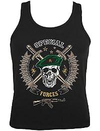 """Tank Top """"Skull Face Mask Military - US Army - Militär - Rocker - Biker - Gothic - Zivildienst - Wehrdienst"""" Ärmellos für Frauen und Männer in Schwarz"""