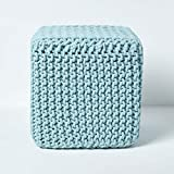Homescapes Duck Egg Blue Knitted Cube Footstool Bean Filled 100% Cotton for Living