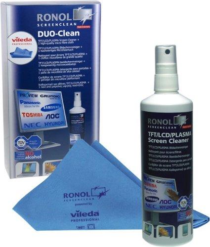 RONOL'DUO CLEAN' 250ml TFT, LCD, PLASMA Monitor Screen Cleaner Reiniger + 1 Vileda Professional-Microfasertuch, Bildschirm reinigen