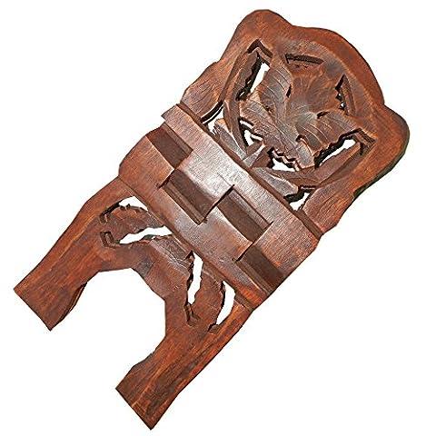 Porte-livre pliable 33cm bois de shisham Décoration feuille de vigne Accessoire lecture porte-Coran