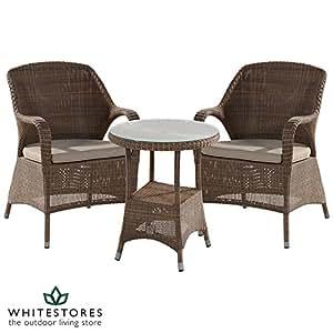 4 Seasons Outdoor Furniture Sussex Polyloom braun Rattan Bistro Set, geflochten, Taupe