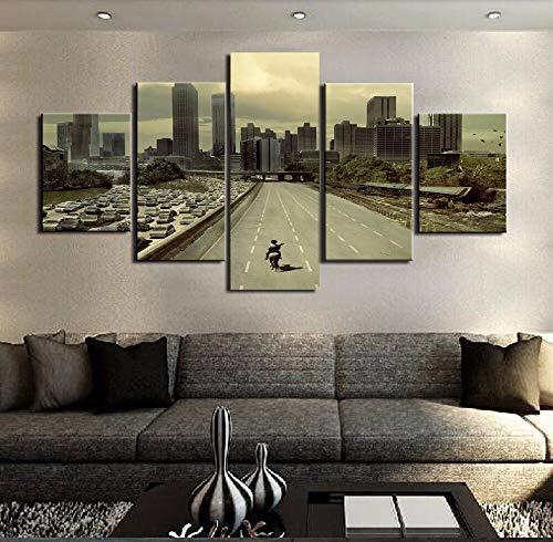 mmwin Modulare Bilder HD Gedruckt Leinwand Home Wandkunst Foto Decor 5 Panels Walking Dead Landschaft Poster -
