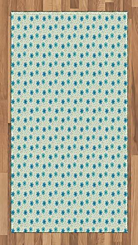 ABAKUHAUS Elfenbein und Blau Teppich, Blume, Deko-Teppich Digitaldruck, Färben mit langfristigen Halt, 80 x 150 cm, Türkis Elfenbein und Blau - Elfenbein Blumen-bereich Teppich