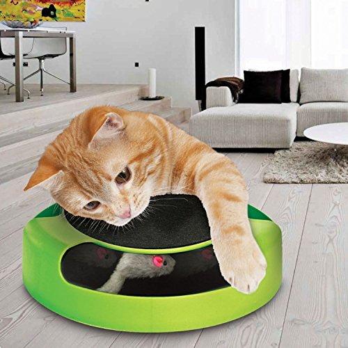"""*Tech Traders®, bewegliches Katzenspielzeug """"Fang die Maus"""" aus Plüsch mit Kratzmatte für die Krallenpflege*"""