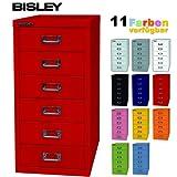 Bisley Schubladenschrank aus Metall mit 6 Schüben | Schrank für Büro, Werkstatt und Zuhause | Stahlschrank in 11 Farben (Kardinalrot)