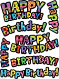 25 x Poppin' Patterns Happy Birthday, Colourful, Shaped Stickers
