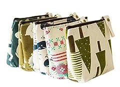 Idea Regalo - Bigboba 5PCS mini canvas portamonete portafoglio da donna borsa portamonete piccolo carino borsa portaoggetti per chiavi, auricolare, rossetto, carta