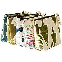 Bigboba 5 monederos de mujer de tejido, pequeños, para almacenar llaves, móvil, barra de labios, tarjetas A-5pcs … (5pcs)