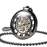 VATENZONE mecánico Antiguo Medio de Viento Cazador Reloj de Bolsillo con Cadena Steampunk Vintage Esqueleto Antiguo Bronce Fénix y dragón Negro Plata para Hombres