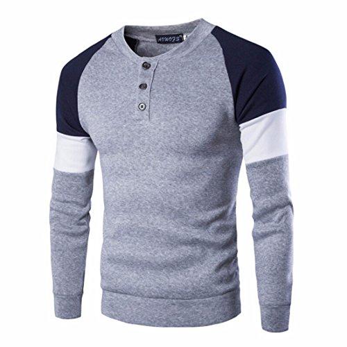 Men's New Design O-Neck Patchwork Casual Sweatshirts gray