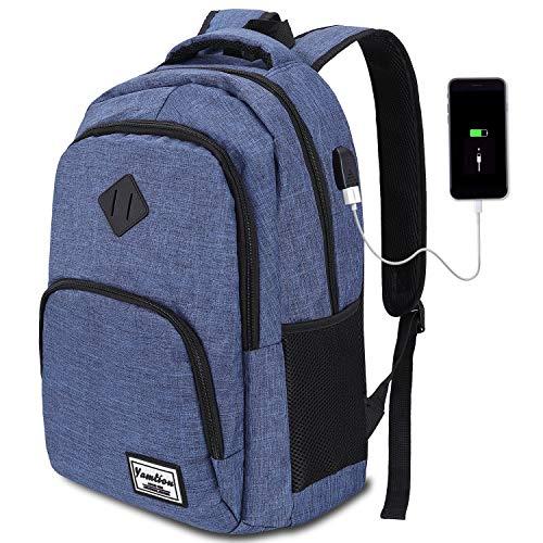 8 Farben Laptop Rucksack mit USB-Ladeanschluss für Arbeit...