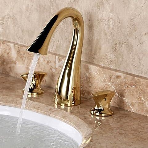 jiayoujia curva 3agujeros 2Mango Diseño elegante grifo de latón mezclador de lavabo con acabado en níquel cepillo de baño lavotory