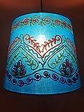 Vintage Stofflampe Deckenlampe Leuchte Lampenschirm Shankar Blau