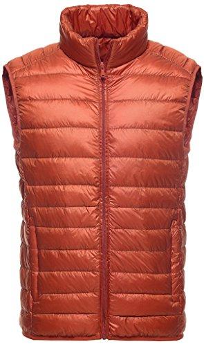Sawadikaa Herren Übergröße Ultra Leicht Verpackbar Kissen Puffer Daunen Weste Winter Jacke Orange