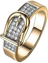 013dd785258d DAYLIN Moda Cinturón Anillos Zirconia Ring Cristal Anillo Joyería Regalo  Para Hombre y Mujer (Oro