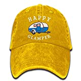 DPASIi Happy Camp Happy Glamper Vintage Washed Dyed Cotton Twill Low Profile Adjustable Baseball Cap Black