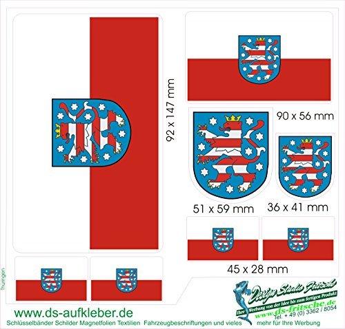 Aufkleber Set Deutschland Thüringen im set Gesamtmaße ca.210x205mm