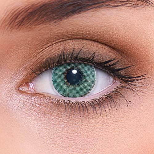 """Stark deckende natürlich grüne Kontaktlinsen farbig \""""Natural Turquoise\"""" + Behälter von LENZOTICA I 1 Paar (2 Stück) I DIA 14.00 I ohne Stärke"""
