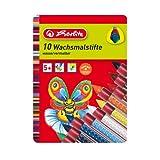 Herlitz 8648008 Pack de 10 crayons de cire soluble dans l'eau avec grip caoutchouté (10 coloris différents) (Import Allemagne)