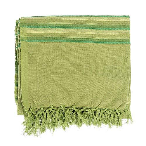 Homescapes waschbare Tagesdecke Sofaüberwurf Überwurfdecke Morocco 225 x 255 cm in Streifen-Design Bettüberwurf aus 100{15176ea0cf0398e47021a1f0b9ddd49d6054bcc4340cd51ccc6ab0071f5de7c9} reiner Baumwolle in grün