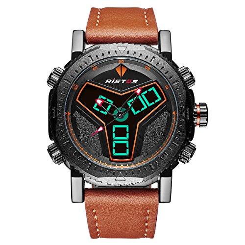 Quarz-uhren Ohsen Mode Casual Military Digital Led Wasserdichte Uhr Für Männer Lederband Armbanduhren Sport Uhren Mit Hoher Qualität