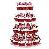 Cupcake Ständer, Kuchenständer 4-Stufig Acryl Halten sie Cupcakes Desserts für Nachmittagstee Party Baby Duschen Hochzeiten (Runde) - 2