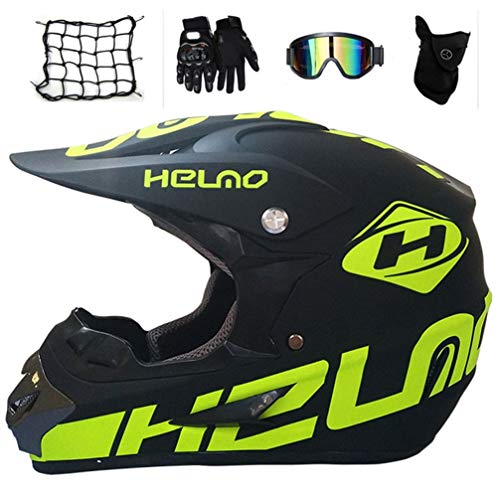 MRDEAR Motocross Helm mit Brille Handschuhe Maske Motorrad Netz, Adult Fullface Off Road Motorradhelm Herren, Cross-Helme Cross-Country-Helm Mountainbike MTB ATV,S