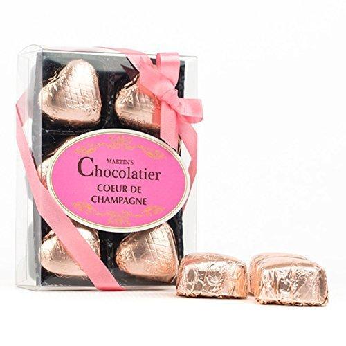 Preisvergleich Produktbild Martin's Chocolatier -Schokolade Herzen -Coeur de Champagne aus Milchschokolade -Geschenkset mit 6 Stück
