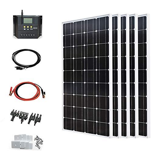 YUANFENGPOWER 500 watt Solarpanel Kit 5 Stücke 100 Watt 18 v Sonnenkollektor Monokristalline Photovoltaik Modul + 50A Solarregler + 3 mt Kabel + 5 Sätze Z Halterung