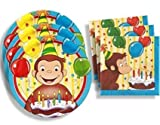 Unique Curious George Birthday Party Supplies Set Large Plates & Napkins Tableware Kit For 16