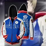 Yuri !!! on Ice Cosplay Costume Hooded Jacket Sweatshirt with Pants Anime Sport Outfit Clothes for Adult Jacket Blue