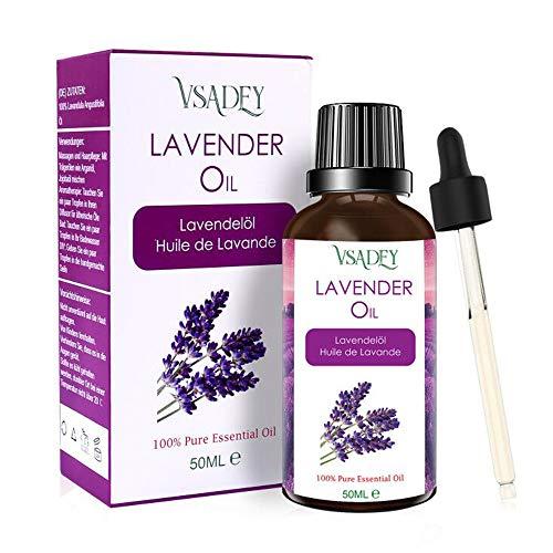 Lavendelöl Bio 50ml, 100{e35807c7ea2fa50f642370caa91a8b55d25087c0d101c725b0cd874b3a271642} Reines und Natürliches Ätherisches Lavendel Öl für Aromatherapie, Massage, Schlafhilfe, Naturkosmetik