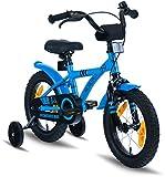 "PROMETHEUS Bicicleta para niño y niña | 14 pulgadas | Color azul y negro | Con ruedas de apoyo | Aluminio Frenos de tiro lateral y freno de contrapedal | A partir de 4 años | 14"" BMX Edition 2018"
