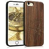 kwmobile Cover in Legno per Apple iPhone 6 / 6S - Custodia Rigida con Bumper in Silicone TPU Hard Case in Legno di Noce con Design Bussola Legno Marrone Scuro - Wood Cover