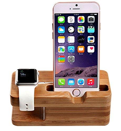 Watch stand,AICase iWatch Bois de Bamboo Support de Chargeur Dock Station Cradle pour iWatch et iPhone 7 7 Plus 6 6 Plus 5S 5
